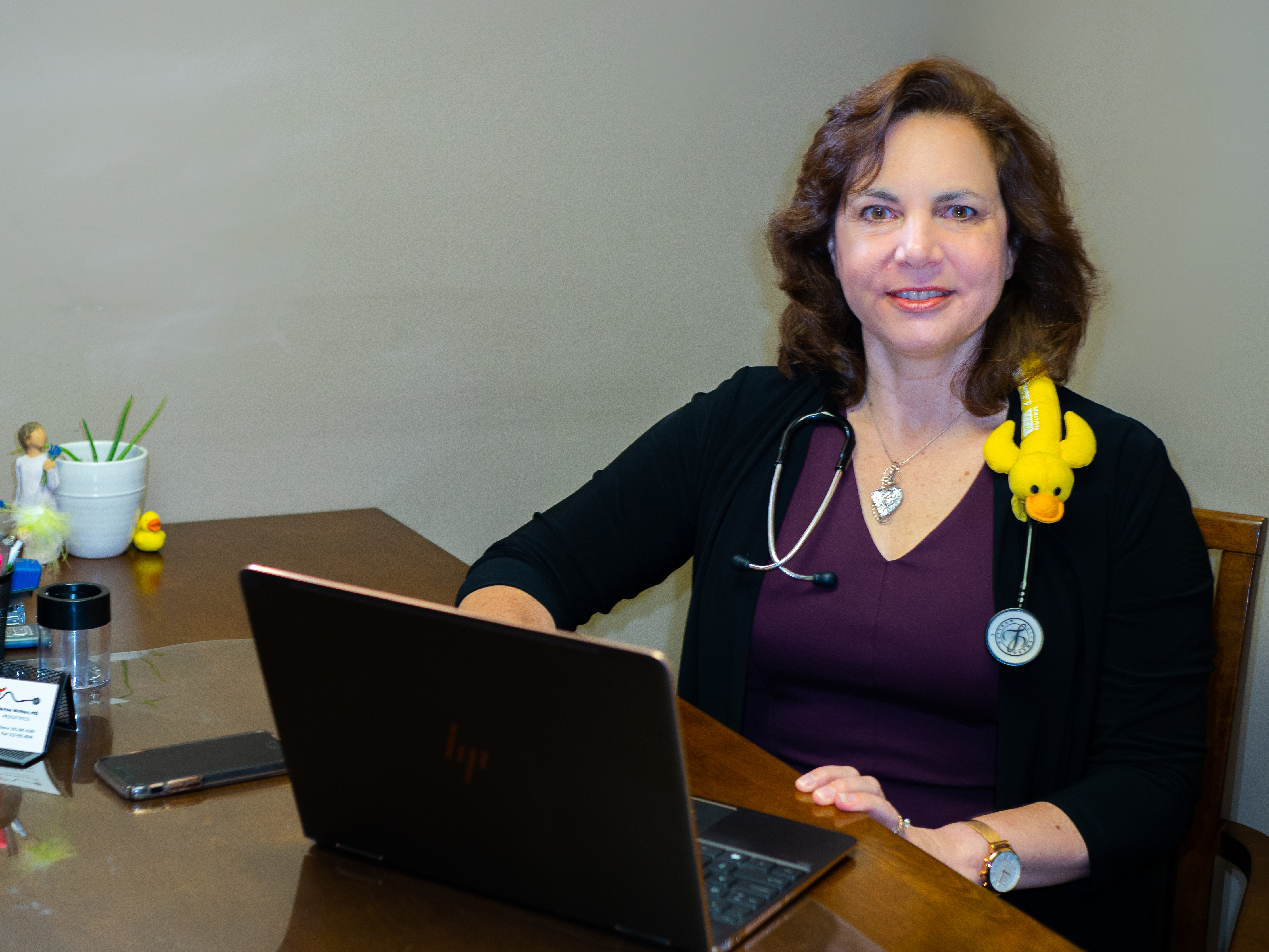 Dr Wolken with her laptop
